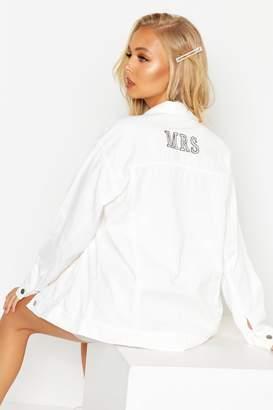 boohoo 'Mrs' Oversized Denim Jacket