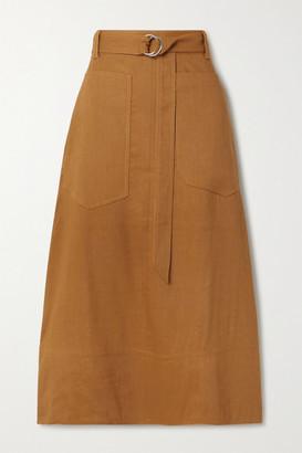 Tibi Belted Linen-blend Midi Skirt - Camel