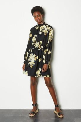 Karen Millen Blurred Floral Sleeved Skater Dress