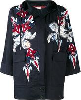 Antonio Marras appliquéd hooded jacket - women - Cotton/Polyester/Spandex/Elastane/glass - 38