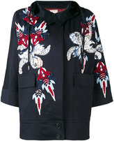 Antonio Marras appliquéd hooded jacket - women - Cotton/Polyester/Spandex/Elastane/glass - 42