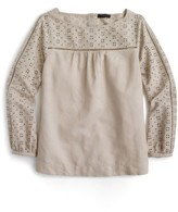 J.Crew Women's Cotton Linen & Cotton Eyelet Top
