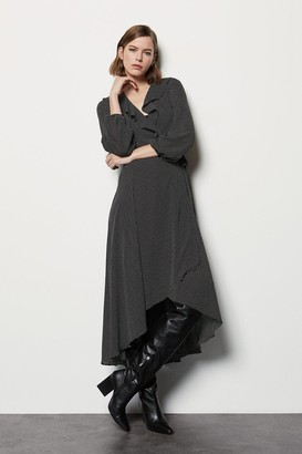 Karen Millen Ruffle Spot Print Long Dress