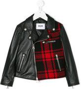 MSGM color block biker jacket