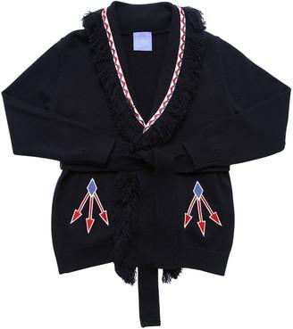 Stella Jean Wool Blend Knit Cardigan W/ Fringes