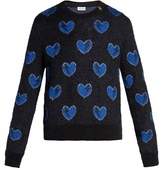 Saint Laurent Heart-intarsia Mohair-blend Sweater
