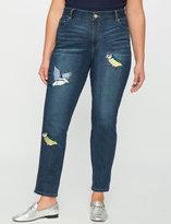 ELOQUII Plus Size Embroidered Bird Jean