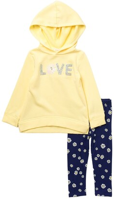 Btween Sequin Love Fleece Hoodie & Floral Leggings Set
