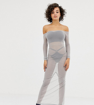 Asos Design DESIGN x LaQuan Smith off shoulder midi dress in mesh-Grey