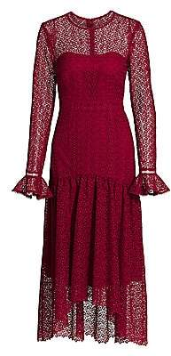 ML Monique Lhuillier Women's Lace Long Sleeve Midi Dress - Size 0