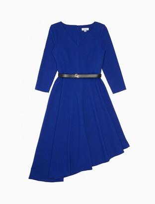 Calvin Klein V-Neck 3/4 Sleeve Belted Asymmetric Dress