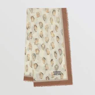 Burberry Oyster Print Lightweight Cashmere Scarf