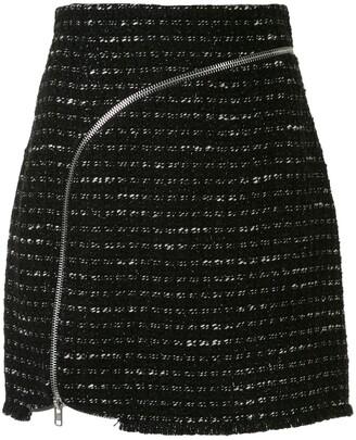 Alexander Wang Curved Zipper Tweed Skirt