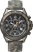 Timex Expedition Men's Quartz Watch with Brown Dial Chronograph Display and Green Leather Strap T49987