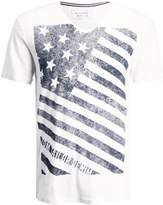 Tom Tailor Denim V Neck With Flag Print Print Tshirt Slightly Creamy