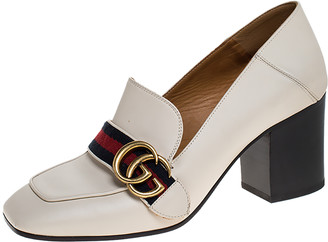 Gucci Off White Leather Web GG Marmont Loafer Pumps Size 37