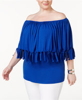 NY Collection Plus Size Fringe Off-The-Shoulder Top