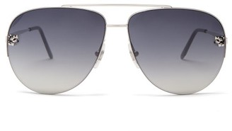 Cartier Core Aviator Metal Sunglasses - Silver