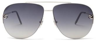 Cartier Panthere De Core Aviator Metal Sunglasses - Silver