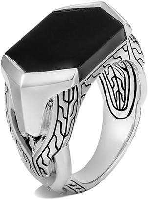 John Hardy Men's Asli Classic Chain Onyx Signet Ring, Size 9-10