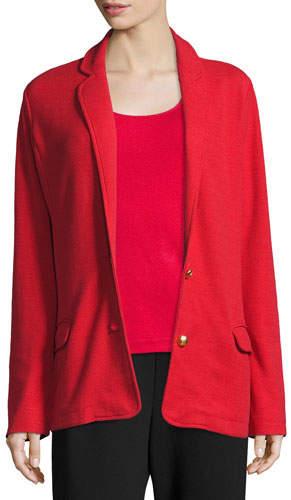 Joan Vass Two-Button Long Pique Blazer, Classic Red, Petite