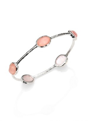 Ippolita Wonderland Blush Mother-of-Pearl, Clear Quartz & Sterling Silver Station Five-Stone Doublet Bangle Bracelet