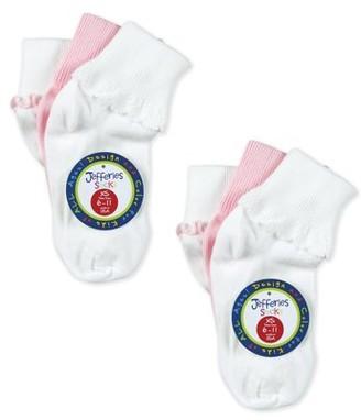 Jefferies Socks Girls Socks, 6 Pack Pretty Ripple Lace Trim Dress Turn Cuff Sizes XS - M