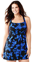 Classic Women's Plus Size Beach Living Dresskini Swimsuit Top-Black Tossed Blossoms
