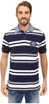 U.S. Polo Assn. Bar Code Stripe Pique Polo Shirt with Chambray Collar