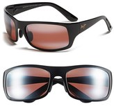 Maui Jim Men's 'Haleakala - Polarizedplus2' Polarized Wrap Sunglasses - Gloss Black/ Maui Rose
