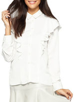 Miss Selfridge Long Sleeve Double Ruffle Button Down Shirt