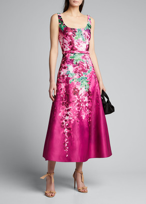 Marchesa Notte Printed Duchess Satin Sleeveless Midi Dress