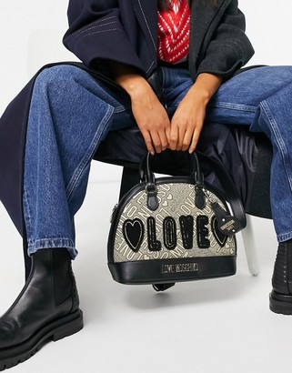 Love Moschino love jacquard bowling bag in gold and black
