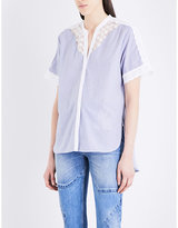 Sandro Broderie anglaise striped cotton top