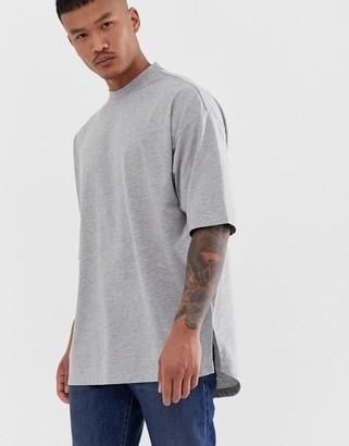 Asos Design DESIGN oversized t-shirt with side split in grey marl
