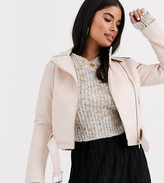 New Look Petite leather look biker jacket in light pink