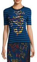 Etro Floral Stripe Rib-Knit T-Shirt