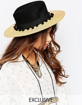 Catarzi Straw Hat with Contrast Black Crown and Pom Pom Trim