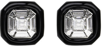 Nikos Koulis 18k White Gold Oui Diamond & Black Enamel Stud Earrings