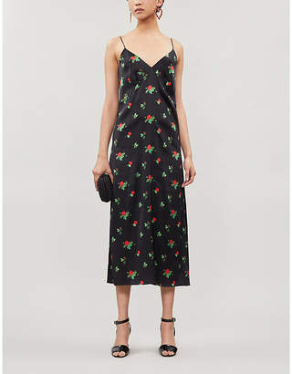 BERNADETTE June floral-print stretch-silk midi slip dress
