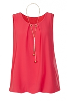 Quiz Coral Chiffon Necklace Bubble Top