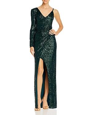 BCBGMAXAZRIA Asymmetric Sequin Gown