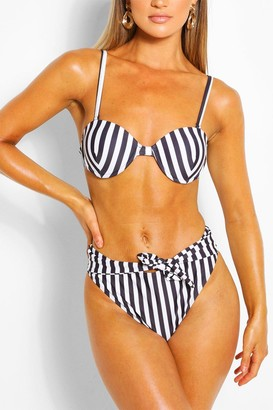 boohoo Stripe Underwired High Waisted Tie Belt Bikini