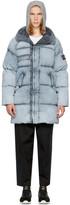 Stone Island Grey Down Long Puffy Hooded Jacket