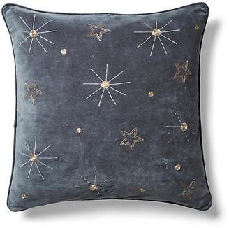 Joanna Buchanan Embroidered Celestial 20x20 Pillow - Dark Gray Velvet