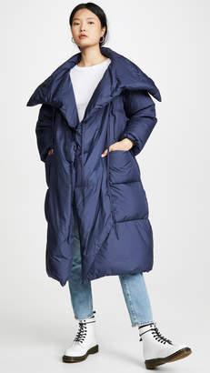 ADD Down Long Plaid Jacket