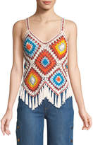 Alice + Olivia Adelina Sleeveless Crochet Fringe Top