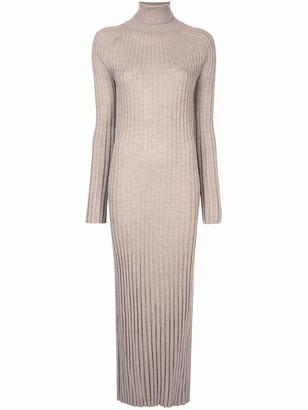 LOULOU STUDIO Long Sleeve Maxi Pleated Knit Dress