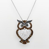Swarovski Artistique Sterling Silver Crystal Owl Pendant - Made with Crystals