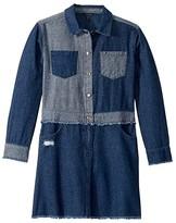 Tommy Hilfiger Two-Tone Denim Dress (Big Kids) (Hudson Wash) Girl's Clothing